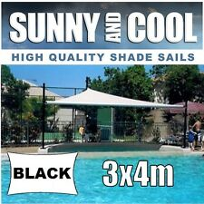 HEAVY DUTY SHADE SAIL-3x4M RECTANGLE IN BLACK 3x4, 3mx4m