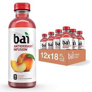 Bai Flavored Water, Panama Peach, Antioxidant Infused Drinks, 18 Fluid , 12 pack