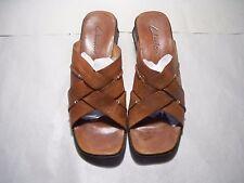 Clarks Brown Open Back Open Toe Straps Block Heel Size 9 M US Style 34663