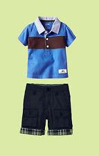 Boys designer cotton short sleeve 2 pcs polo shirt and shorts set. size 2