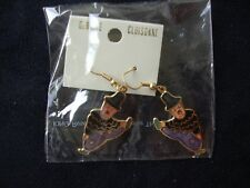 VINTAGE GENUINE CLOISONNE COLORFUL BLACK CLOWN GOLD TONE DANGLE HOOK EARRINGS