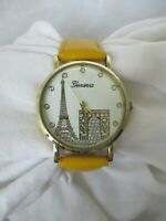 Geneva Eiffel Tower Paris Analog Watch with Yellow Buckle Band WORKING!