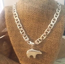 "Navajo Signed GS Heavy Bear Sterling Pendant on Solid Sterling 20"" Chain"