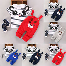 2PCS Newborn Kids Baby Boy Girls T-shirt Tops+Pants Overalls Outfits Clothes Set