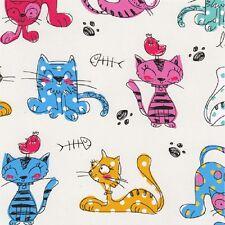Fat Quarter Furry Friends Cats Cartoon Cream Cotton Quilting Fabric Nutex