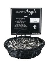 (1) Heaven's Angel Charm Pocket Token Coin with Verse Silver Holding Cross