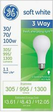 GE SoftWhite Light Bulb 3-Way 30/70/100 Watt 1 ea, (Pack of 8)