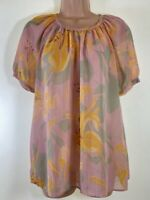 RIVER ISLAND nude baby pink floral print sheer see through smock blouse size 10