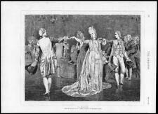 1875 Antique Print - FINE ART Minuet Val Prinsep Lady Dance Gown Fan  (195)