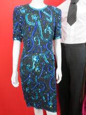 Vtg Stenay Silk Blue Mix beaded sequin Cocktail Party Dress Formal Medium