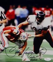 Dan Hampton Autographed HOF Bears 8x10 Tackling Patriot Photo- JSA W Auth *Blk