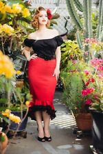 Deadly Dames- Flamenco Mermaid Skirt in Red   Pinup Girl Clothing