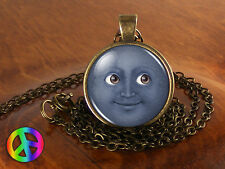 Emoji Face Smile Grey Moon Geek Geeky Necklace Pendant Jewelry Charm Charms Gift