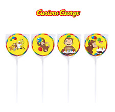 24 PBS Curious George Stickers Labels Bag Lollipop Party Favors