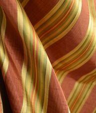 Candia Bouquet Faux Silk Striped Rust Green Drapery Fabric