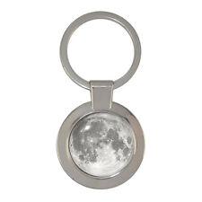 Full Moon Design Silver Tone Chunky Circular Keyring lunar space astronomy BNIB