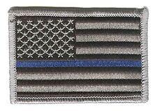 """HOOK/LOOP US flag 3""""x2"""" black/grey stars left blue line police patch ELK-V-DOK"""
