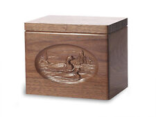 Wood Cremation Urn. Standard model with Black Walnut and a Loons Image