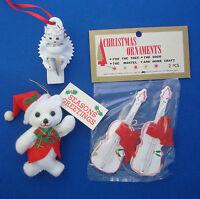 set of 4 refrigerator magnet ornaments Christmas snowman Santa Stocking bear
