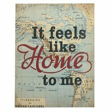 Feels Like Home To Me Wall Plaque Metal With World Map Design Atlas Print