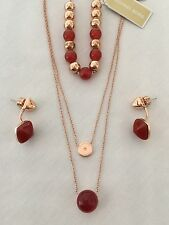 MICHAEL KORS Semi Precious Rose G/Red Necklace, Bracelet & Earrings MKJ5477 $325
