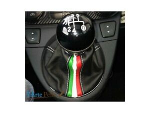 Gear Stick Gaiter Fiat New 500 Black Genuine Leather + Tricolor
