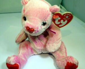 """TY Beanie Babies """"Romance"""" USA 8"""" with tags Teddy Bear Pink Valentines Day"""