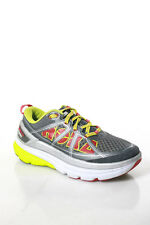 HOKA ONE ONE Gray Yellow Red Nylon Lace Up Running Sneakers Size 7.5