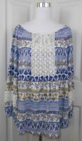 Style & Co Women's size 1x Floral Lace Trim Blue Yellow Boho Top Shirt Blouse