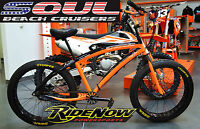 Fat Tire Beach Cruiser Bike - SOUL STOMPER - 3 speed - Orange BLAZE / Black NEW!