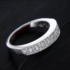 Band Ring Real 10k White Gold 100% Certified 1/4 Ct Natural Diamond Wedding