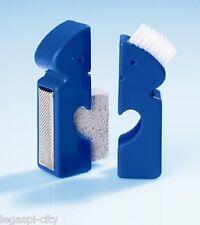 4-Teiliges Fuß-Pflegeset (Bimsstein etc.) für die Reise und unterwegs Farbe blau