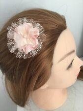 "Wedding Bridal Flower Girls Small 2"" Girls Peach Flower Hair Clip Fascinator"