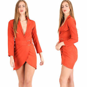 Womens Ladies Belted Wrap Dress Plunge V Neck Party Fashion Dresses
