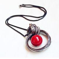 Eg _ Mode Damen Kreis Kunstperle Anhänger Pullover Halskette Ball Schmuck Spät