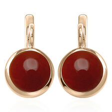 Russian Style Earrings 6.0 Gr. 14k Solid Rose Gold and 12mm Carnelian #E1304