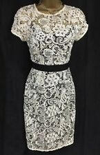 Lipsy VIP Pencil Shift Dress 10 Cream Black Crochet Lace Party Wedding Occasion