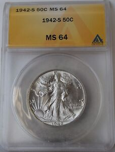 "1942-S Liberty Walking Half Dollar ""ANACS MS64"" *Free S/H After 1st Item*"