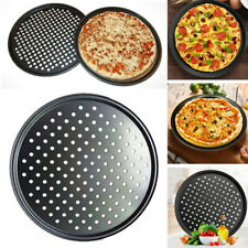 13in Pizza Pan DIY Non Stick Baking Tray Oven Carbon Steel Wide Rim Mesh Tray