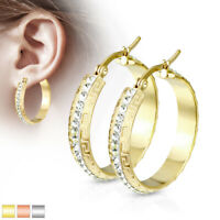 Women's Maze Hoop with Crystal Paved Center 316L Stainless Steel Earrings 30mm