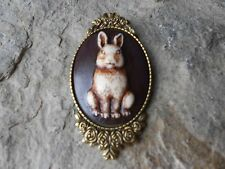 BUNNY RABBIT HAND PAINTED CAMEO BROOCH / PIN  - EASTER BUNNY - EASTER JEWELRY