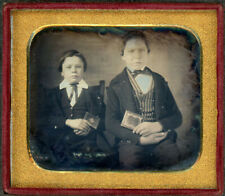 2 YOUNG MEN HOLD GOLD GILDED LEATHER DAG CASES DAGUERREOTYPE