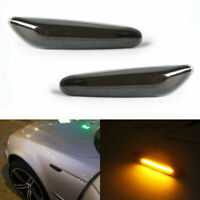 2X Smoke LED Side Marker Turn Signal Lights For BMW E90 E91 E92 E93 E46 E60 E82
