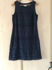 ROCHA JOHN ROCHA DEBENHAMS Navy Dress Size 14 Embroidered Lace Smart