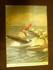 Retrocopertina Domenica del Corriere 1929 Gara nautica bighe Mt. Dora Florida