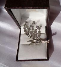Rhinestone Flower Brooch Pretty Vintage 1930'S/40'S Sparkly