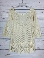 Kori America Boutique Women's S Small Ivory Lace Cute Summer Tunic Top Blouse