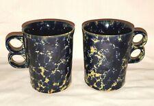(2) BENNINGTON POTTERS Pottery BLUE AGATE Trigger Handle Coffee Mugs 1340