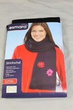 Esmara Strickschal - schwarz + modische Blumen Applikation - 180 cm x 20 cm /S75