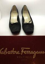 SALVATORE FERRAGAMO Black Nero Suede Nabuck Calf Lalita Heeled Pump Size 8